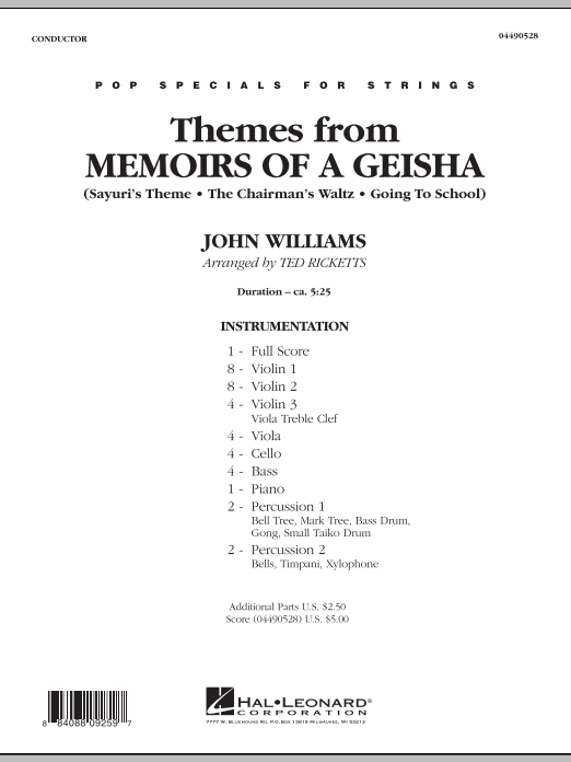 Themes from Memoirs of a Geisha (COMPLETE) sheet music for orchestra by Ted Ricketts and John Williams. Score Image Preview.