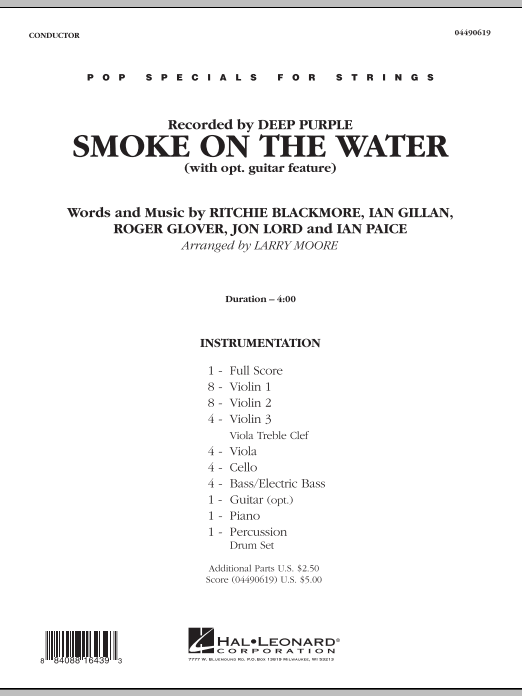 Smoke on the Water (COMPLETE) sheet music for orchestra by Larry Moore and Deep Purple. Score Image Preview.