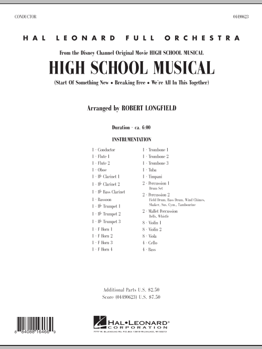 High School Musical (COMPLETE) sheet music for full orchestra by Robert Longfield. Score Image Preview.