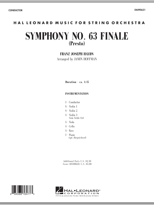 Symphony No. 63 Finale (Presto) (COMPLETE) sheet music for orchestra by Jamin Hoffman and Franz Joseph Haydn. Score Image Preview.