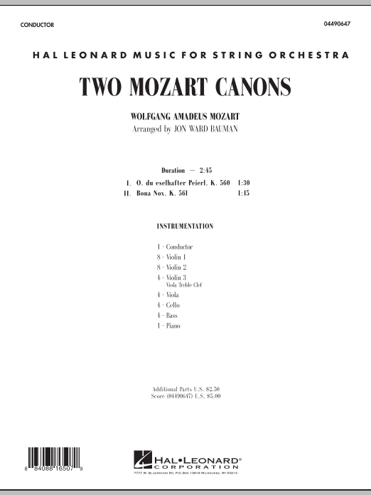 Two Mozart Canons (COMPLETE) sheet music for orchestra by Jon Ward Bauman and Wolfgang Amadeus Mozart. Score Image Preview.
