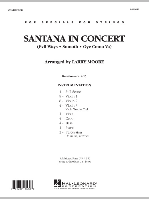 Santana in Concert (COMPLETE) sheet music for orchestra by Carlos Santana and Larry Moore. Score Image Preview.