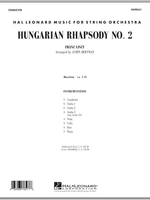 Hungarian Rhapsody No. 2 (COMPLETE) sheet music for orchestra by Jamin Hoffman and Franz Liszt. Score Image Preview.