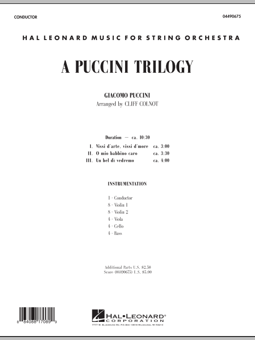 A Puccini Trilogy (COMPLETE) sheet music for orchestra by Giacomo Puccini and Cliff Colnot. Score Image Preview.