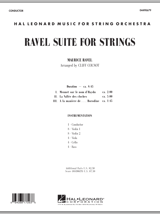 Ravel Suite for Strings (COMPLETE) sheet music for orchestra by Maurice Ravel and Cliff Colnot. Score Image Preview.