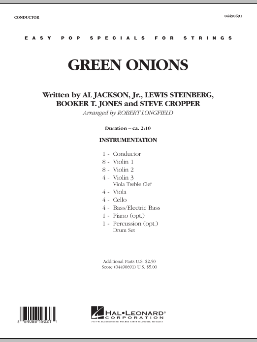 Green Onions (COMPLETE) sheet music for orchestra by Robert Longfield. Score Image Preview.