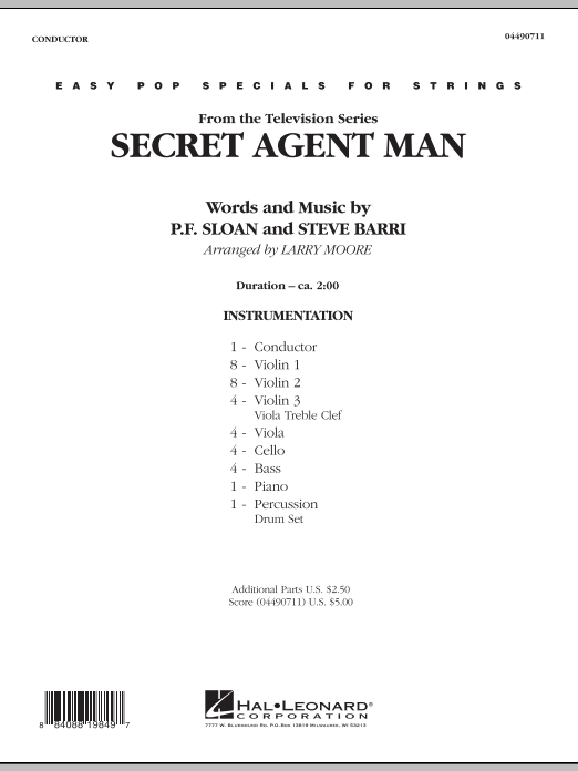 Secret Agent Man (COMPLETE) sheet music for orchestra by Larry Moore, P.F. Sloan and Steve Barri. Score Image Preview.
