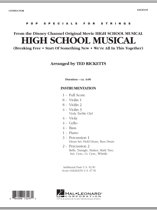 High School Musical (COMPLETE) sheet music for orchestra by Ted Ricketts. Score Image Preview.