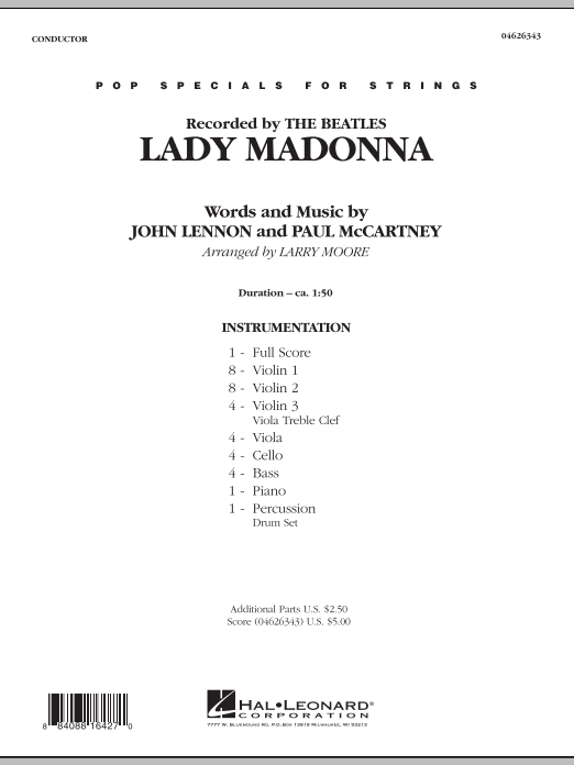 Lady Madonna (COMPLETE) sheet music for orchestra by Larry Moore, John Lennon and Paul McCartney. Score Image Preview.