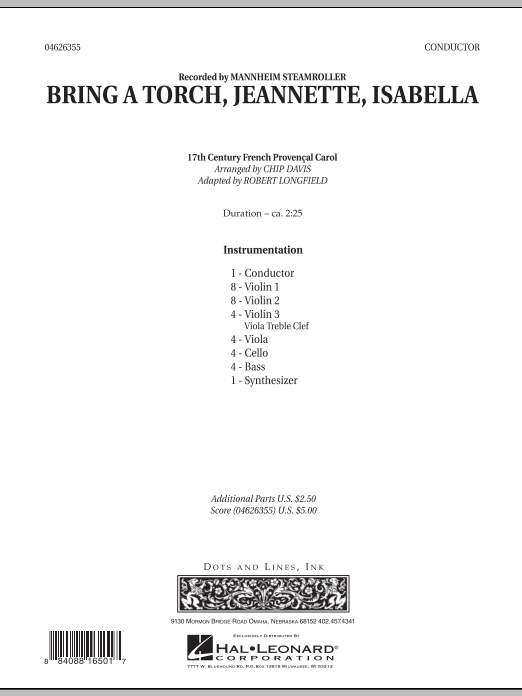 Bring a Torch, Jeannette, Isabella (COMPLETE) sheet music for orchestra by Robert Longfield, Chip Davis and Mannheim Steamroller. Score Image Preview.