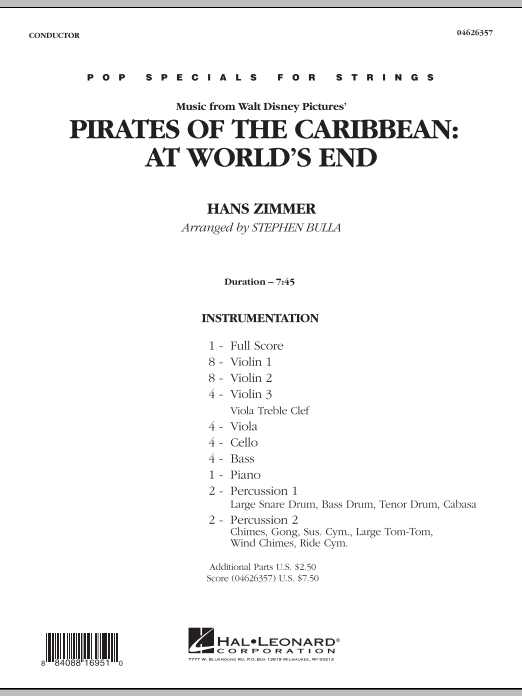 Music from Pirates of the Caribbean: At World's End (COMPLETE) sheet music for orchestra by Stephen Bulla and Hans Zimmer. Score Image Preview.