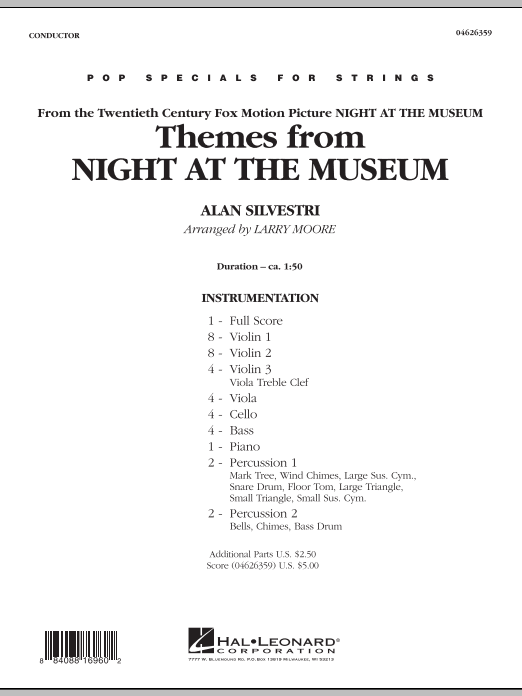 Themes from Night at the Museum (COMPLETE) sheet music for orchestra by Larry Moore and Alan Silvestri. Score Image Preview.