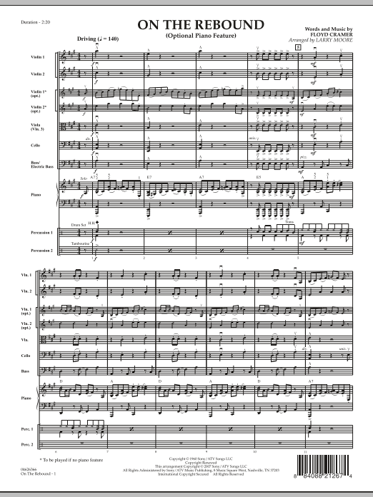 On the Rebound (COMPLETE) sheet music for orchestra by Larry Moore and Floyd Cramer. Score Image Preview.