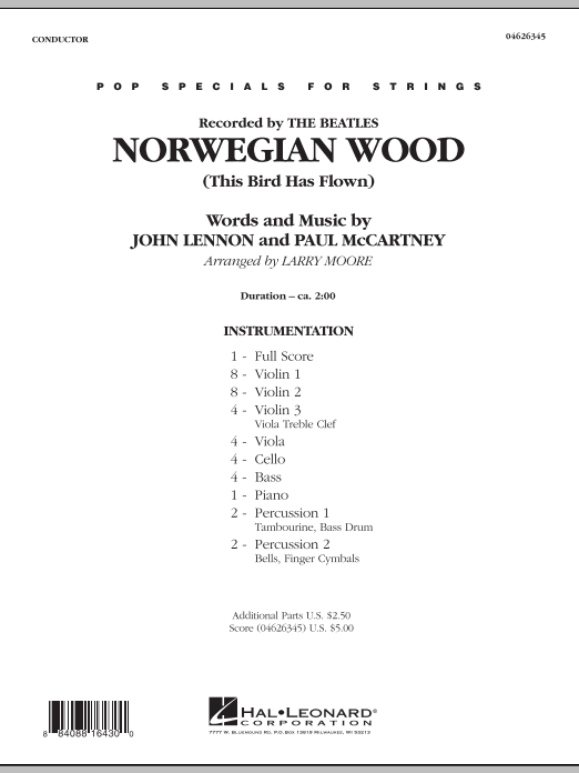Norwegian Wood (This Bird Has Flown) (COMPLETE) sheet music for orchestra by John Lennon, Paul McCartney, Larry Moore and The Beatles. Score Image Preview.
