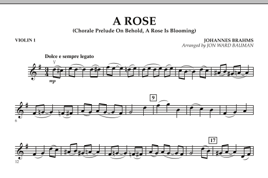 """A Rose (Chorale Prelude on """"Behold, a Rose Is Blooming"""") - Violin 1 (Orchestra)"""