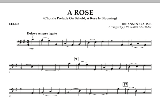 """A Rose (Chorale Prelude on """"Behold, a Rose Is Blooming"""") - Cello (Orchestra)"""