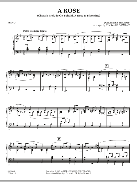 """A Rose (Chorale Prelude on """"Behold, a Rose Is Blooming"""") - Piano (Orchestra)"""