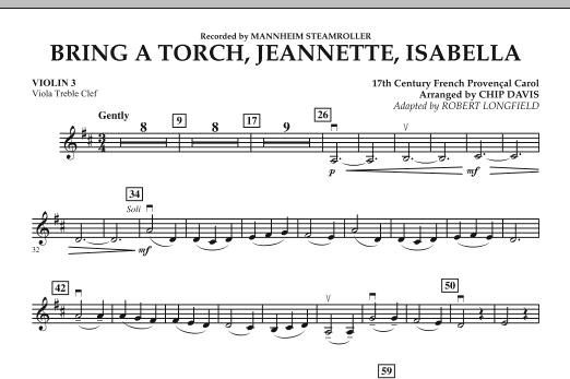 Bring a Torch, Jeannette, Isabella - Violin 3 (Viola Treble Clef) (Orchestra)