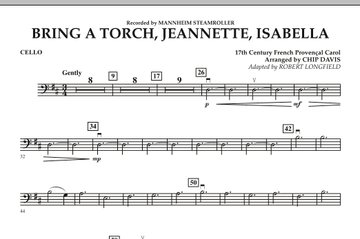 Bring a Torch, Jeannette, Isabella - Cello (Orchestra)
