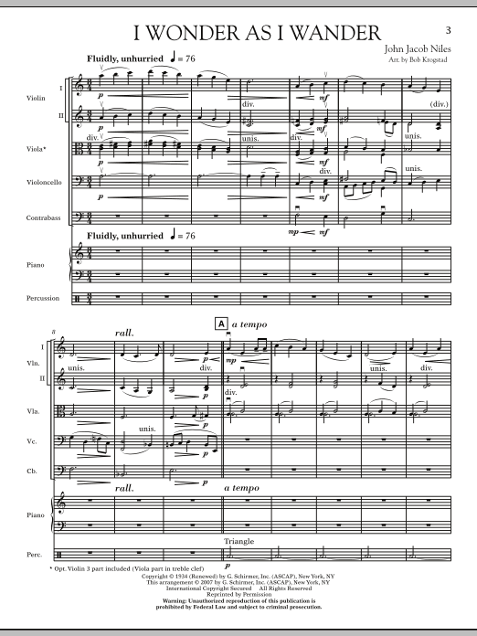 I Wonder As I Wander (COMPLETE) sheet music for orchestra by Bob Krogstad and John Jacob Niles. Score Image Preview.