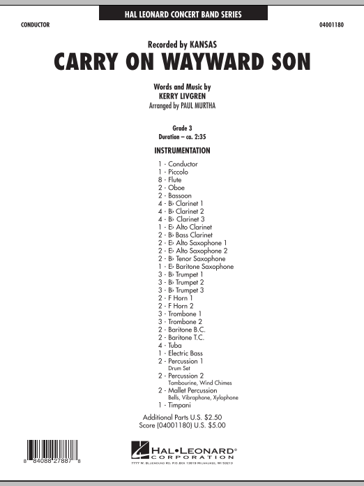 Carry On Wayward Son (COMPLETE) sheet music for concert band by Paul Murtha and Kansas. Score Image Preview.