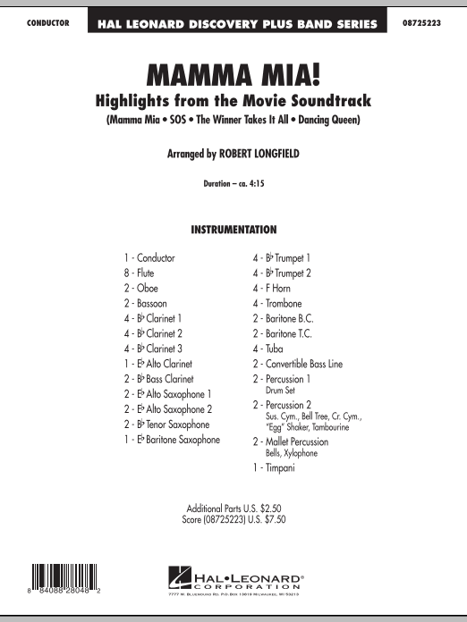 Mamma Mia! - Highlights from the Movie Soundtrack (COMPLETE) sheet music for concert band by Robert Longfield and ABBA. Score Image Preview.