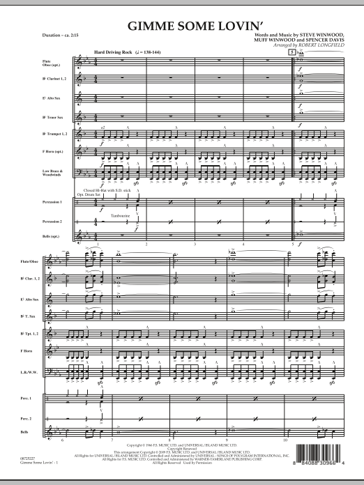 Gimme Some Lovin' (COMPLETE) sheet music for concert band by Robert Longfield, Muff Winwood, Spencer Davis and Steve Winwood. Score Image Preview.