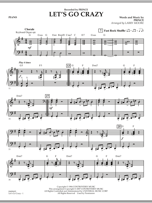 Let's Go Crazy - Piano (Orchestra)