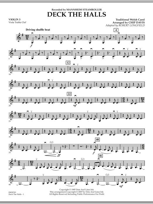 Deck the Halls (Mannheim Steamroller) - Violin 3 (Viola T.C.) (Orchestra)