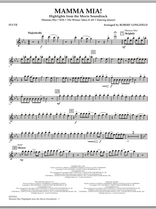 Mamma Mia! - Highlights from the Movie Soundtrack - Flute (Concert Band)