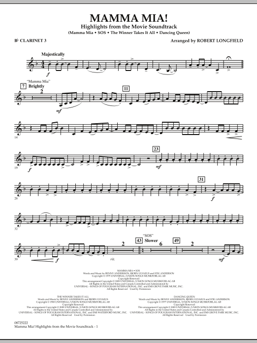 Mamma Mia! - Highlights from the Movie Soundtrack - Bb Clarinet 3 (Concert Band)