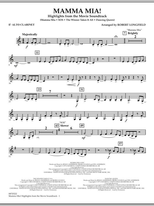 Mamma Mia! - Highlights from the Movie Soundtrack - Eb Alto Clarinet (Concert Band)