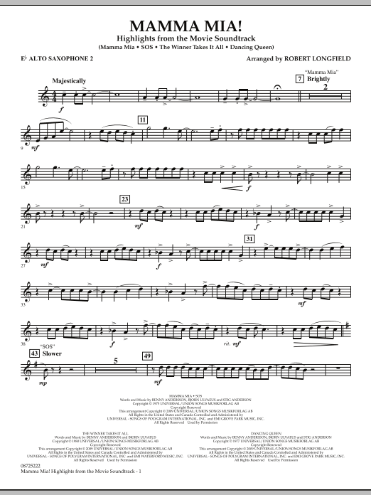 Mamma Mia! - Highlights from the Movie Soundtrack - Eb Alto Saxophone 2 (Concert Band)