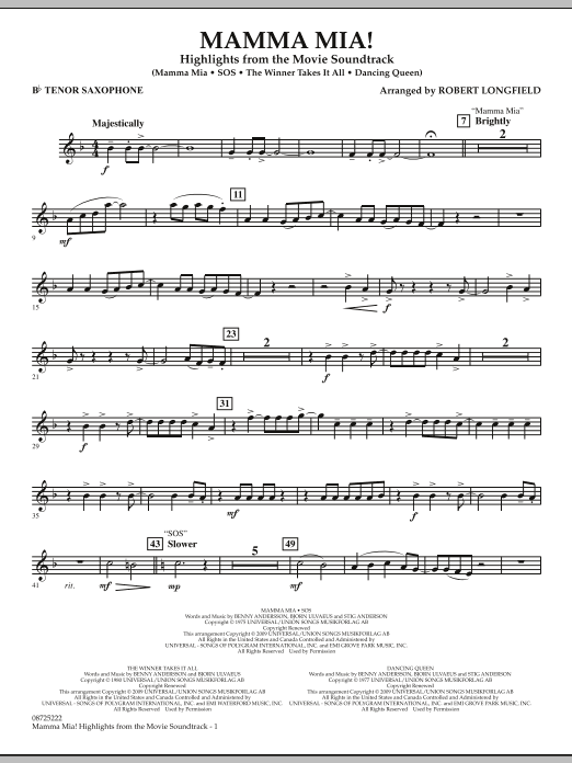 Mamma Mia! - Highlights from the Movie Soundtrack - Bb Tenor Saxophone (Concert Band)