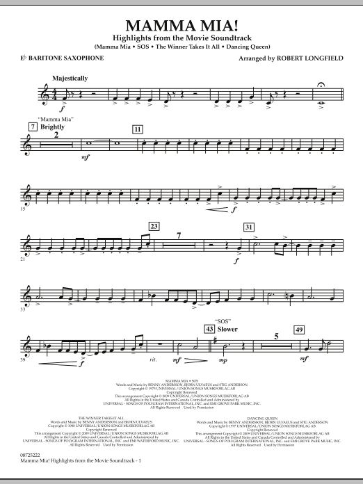 Mamma Mia! - Highlights from the Movie Soundtrack - Eb Baritone Saxophone (Concert Band)