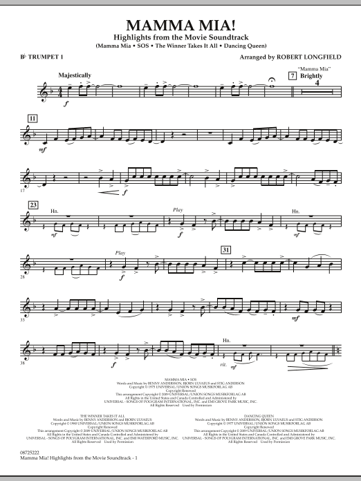Mamma Mia! - Highlights from the Movie Soundtrack - Bb Trumpet 1 (Concert Band)
