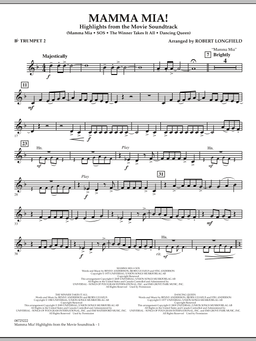 Mamma Mia! - Highlights from the Movie Soundtrack - Bb Trumpet 2 (Concert Band)