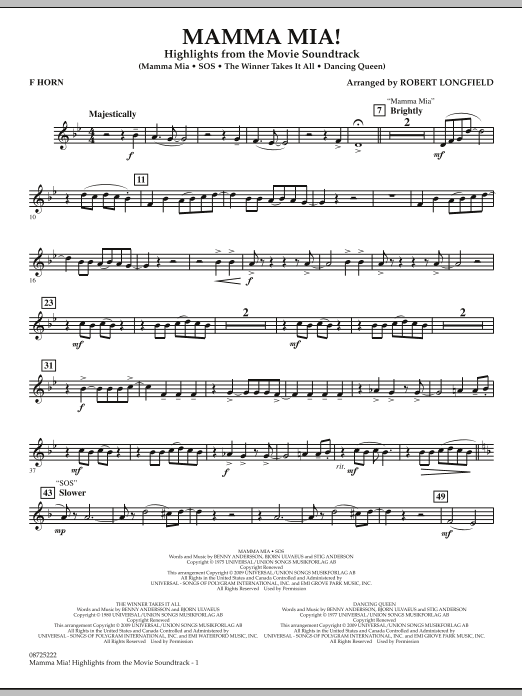 Mamma Mia! - Highlights from the Movie Soundtrack - F Horn (Concert Band)