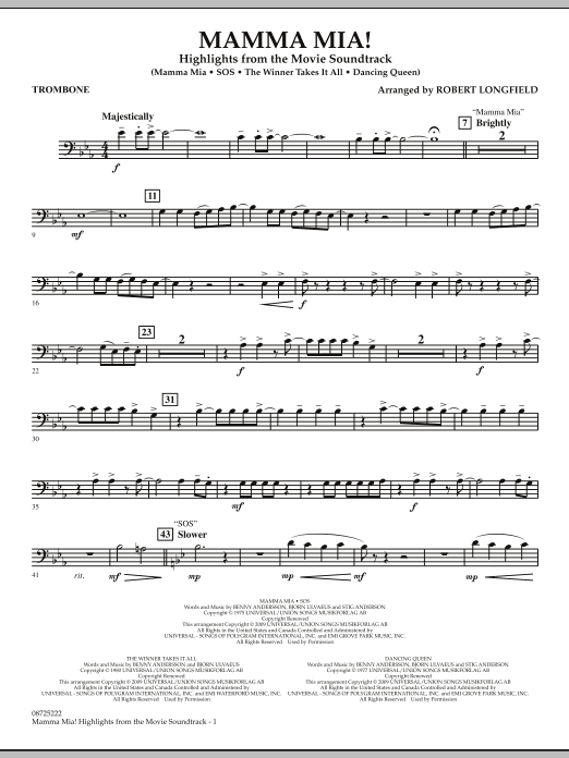 Mamma Mia! - Highlights from the Movie Soundtrack - Trombone (Concert Band)