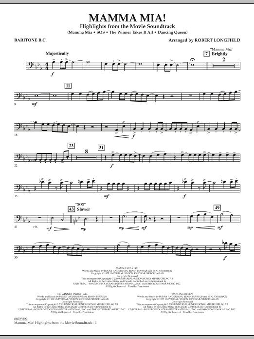 Mamma Mia! - Highlights from the Movie Soundtrack - Baritone B.C. (Concert Band)