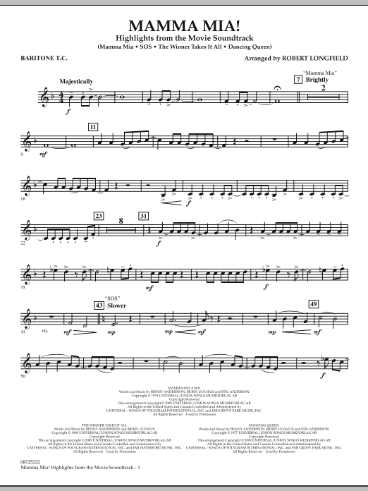 Mamma Mia! - Highlights from the Movie Soundtrack - Baritone T.C. (Concert Band)