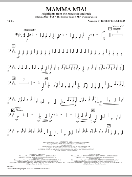 Mamma Mia! - Highlights from the Movie Soundtrack - Tuba (Concert Band)