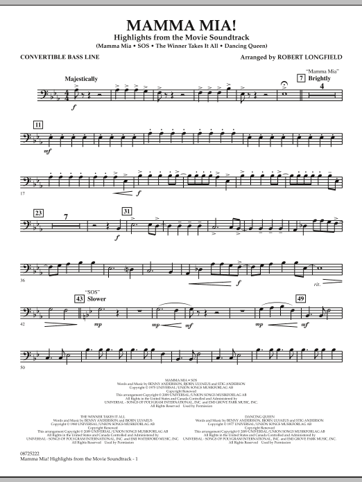 Mamma Mia! - Highlights from the Movie Soundtrack - Convertible Bass Line (Concert Band)