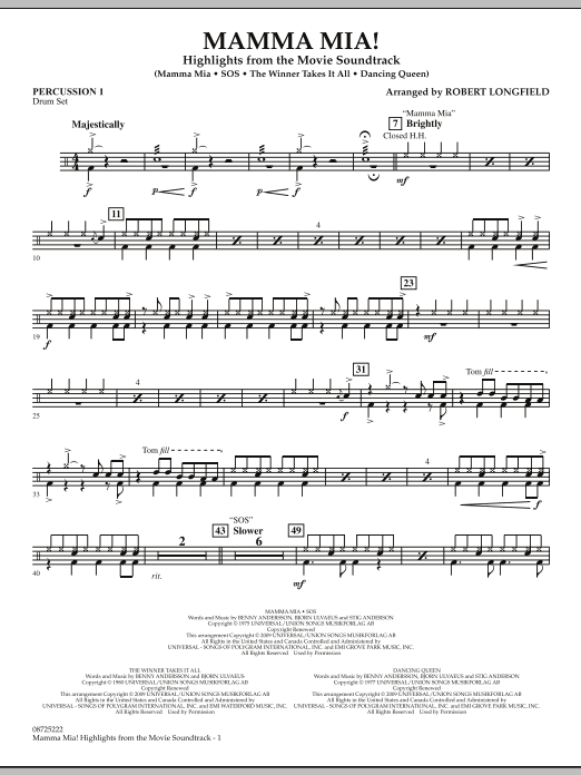 Mamma Mia! - Highlights from the Movie Soundtrack - Percussion 1 (Concert Band)