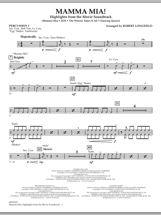 Mamma Mia! - Highlights from the Movie Soundtrack - Percussion 2 (Concert Band)