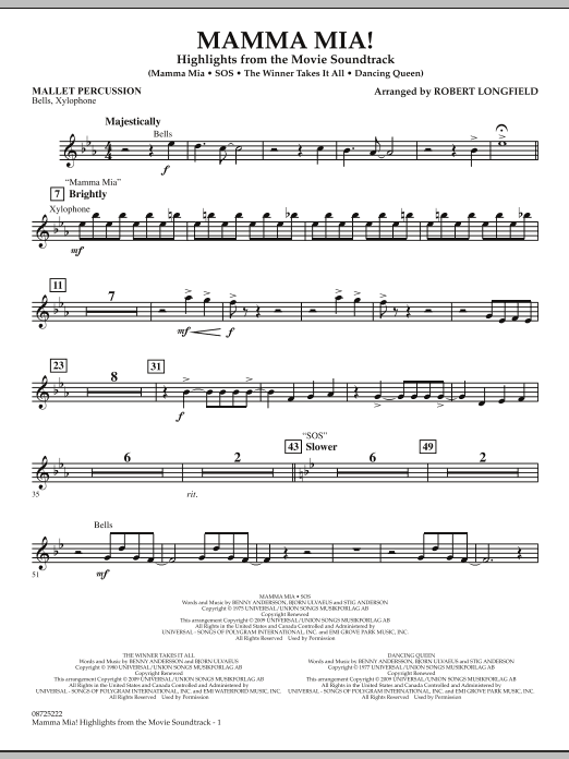 Mamma Mia! - Highlights from the Movie Soundtrack - Mallet Percussion (Concert Band)