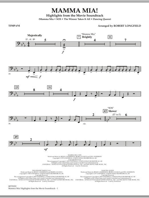 Mamma Mia! - Highlights from the Movie Soundtrack - Timpani (Concert Band)