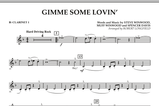 Gimme Some Lovin' - Bb Clarinet 1 (Concert Band)