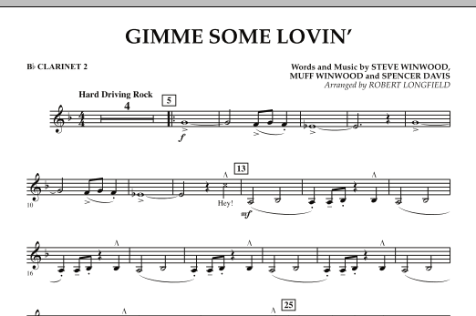 Gimme Some Lovin' - Bb Clarinet 2 (Concert Band)