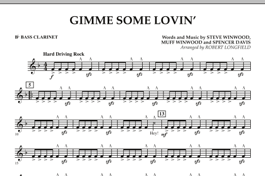 Gimme Some Lovin' - Bb Bass Clarinet (Concert Band)